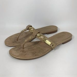 Coach Rizzo Thong Flat Sandals Gold Toned Chain